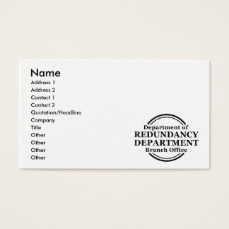 Department of Redundancy Business Profile Card