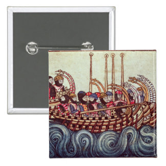 Departure of a Boat for the Crusades, 2 Inch Square Button