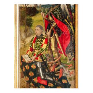 Depicting  donor of  altarpiece, Michel de Postcard
