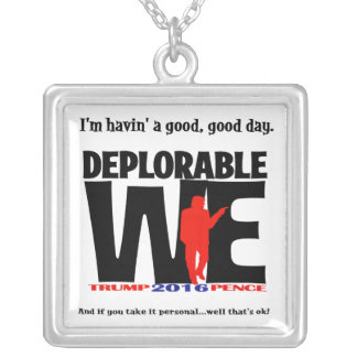 Deplorable We Wear Jewlery Silver Plated Necklace