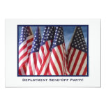 """Deployment Send-Off Party, American Flags 5"""" X 7"""" Invitation Card"""