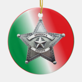 Deputy Sheriff's Star Badge Ceramic Ornament