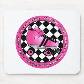 Derby Chicks Roll With It - Hot Pink Black White Mousepad