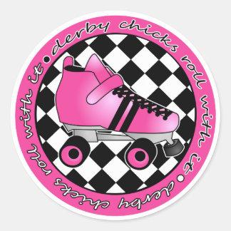 Derby Chicks Roll With It - Hot Pink Black White Round Sticker