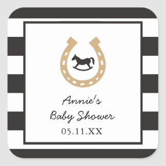 Derby Horseshoe Baby Shower Personalized Stickers