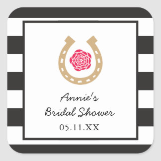 Derby Horseshoe Bridal Shower Personalized Sticker