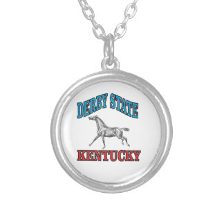 Derby state silver plated necklace