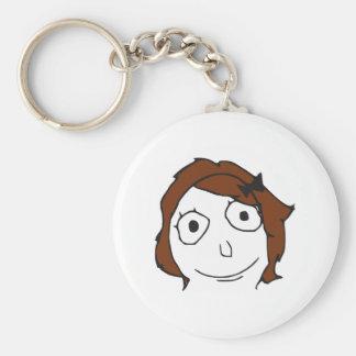 Derpina Brown Hair Rage Face Meme Basic Round Button Keychain