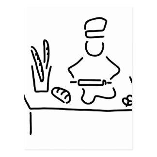 des boulangers pain cuisent carte postale