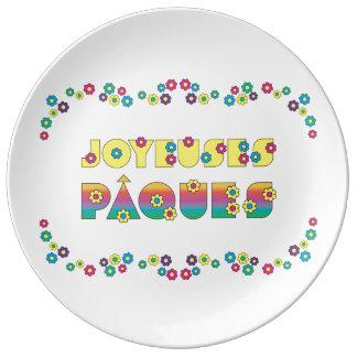 DES Fleurs d'avec de Joyeuses Pâques Assiette En Porcelaine