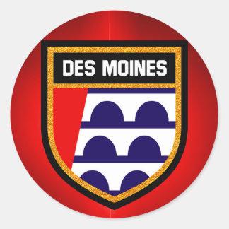 Des Moines Flag Classic Round Sticker