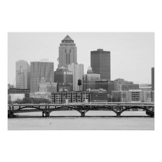 Des Moines in B&W Poster
