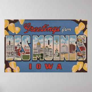 Des Moines, Iowa - grandes scènes 2 de lettre Affiche