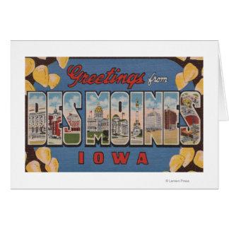 Des Moines, Iowa - grandes scènes 2 de lettre Carte De Vœux