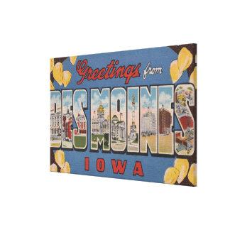 Des Moines, Iowa - grandes scènes 2 de lettre Impression Sur Toile