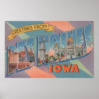 Des Moines, Iowa - grandes scènes 3 de lettre Posters