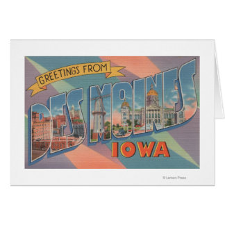 Des Moines, Iowa - grandes scènes 3 de lettre Carte De Vœux