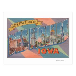 Des Moines, Iowa - grandes scènes 3 de lettre Carte Postale