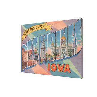 Des Moines, Iowa - grandes scènes 3 de lettre Toile Tendue