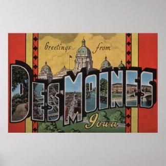 Des Moines, Iowa - grandes scènes de lettre Posters