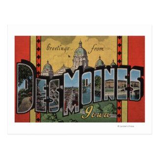 Des Moines, Iowa - grandes scènes de lettre Cartes Postales