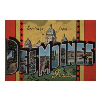 Des Moines, Iowa - grandes scènes de lettre Poster