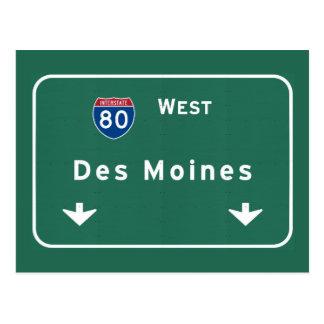 Des Moines Iowa ia Interstate Highway Freeway : Postcard