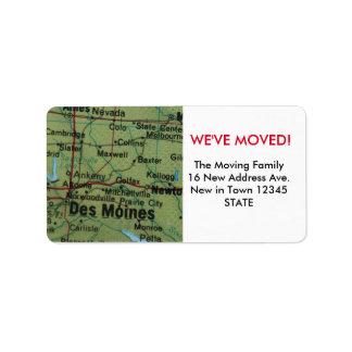 Des Moines nous avons déplacé l'étiquette Étiquette D'adresse