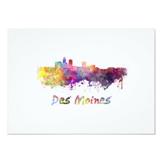 DES Moines skyline in watercolor Card