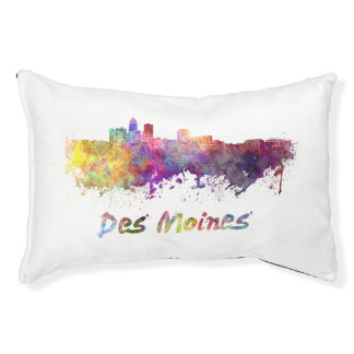 DES Moines skyline in watercolor Pet Bed