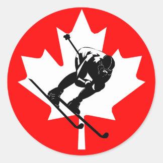 Descendeur de drapeau du Canada Adhésifs Ronds