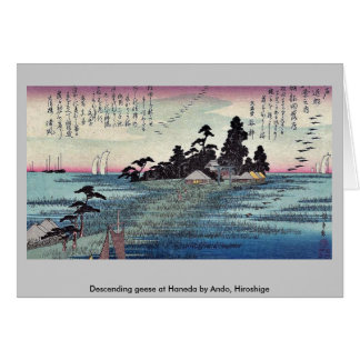 Descending geese at Haneda by Ando, Hiroshige Card