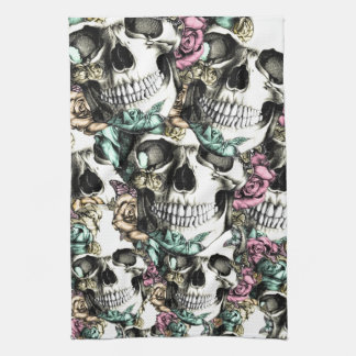 Descending rose skulls with butterflies. kitchen towel