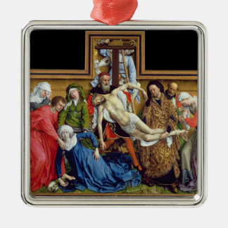 Descent from the Cross, c.1435 Silver-Colored Square Ornament