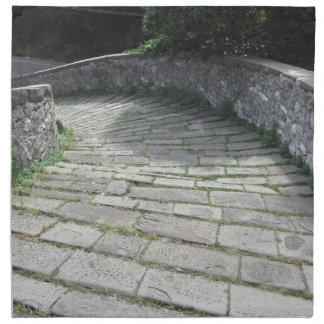 Descent stone walkway of medieval bridge cloth napkins