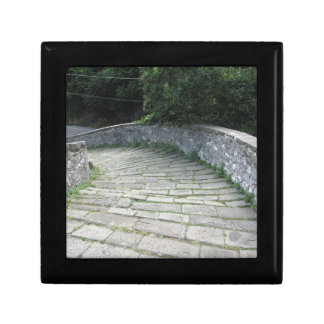 Descent stone walkway of medieval bridge gift box