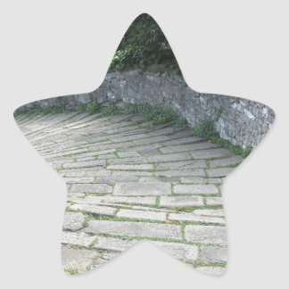 Descent stone walkway of medieval bridge star sticker