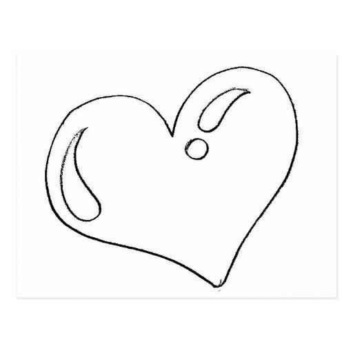 Desenho de coração para imprimir e pintar postcard