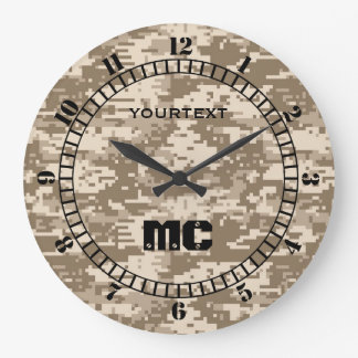 Desert Beige Digital Camouflage Personalized on a Large Clock