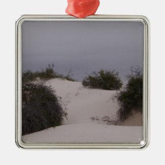 Desert Brush in White Sand Silver-Colored Square Ornament