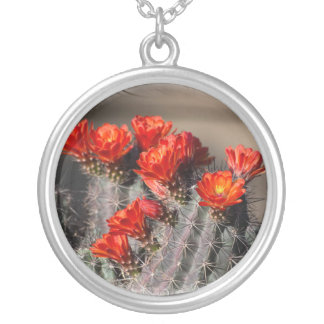 Desert Cactus Flower Silver Plated Necklace