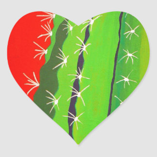 Desert Cactus Heart Sticker