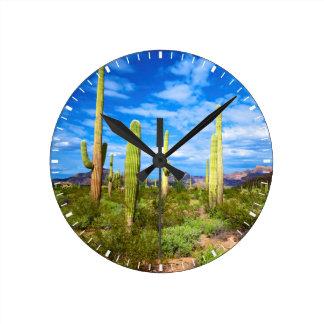 Desert cactus landscape, Arizona Wall Clock