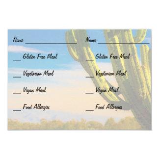 Desert Cactus on Blue Sky RSVP Food Allergy Card