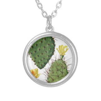 Desert Cactus Plant Pattern Vintage Silver Plated Necklace