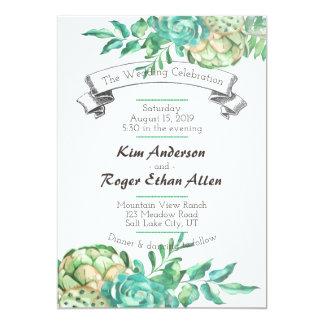 Desert Cactus Succulent Floral Wedding Invites