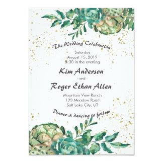Desert Cactus Succulent Romantic Wedding Invites