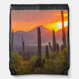 Desert cactus sunset, Arizona Drawstring Bag