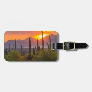 Desert cactus sunset, Arizona Luggage Tag