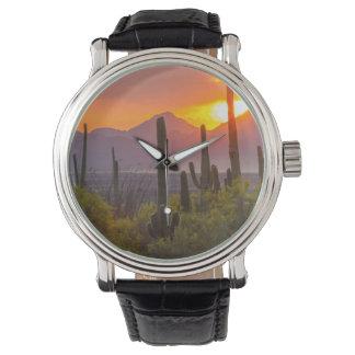 Desert cactus sunset, Arizona Wristwatch